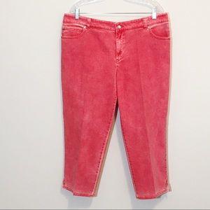 Chico's Platinum Coral Cropped Capri Jeans NWOT